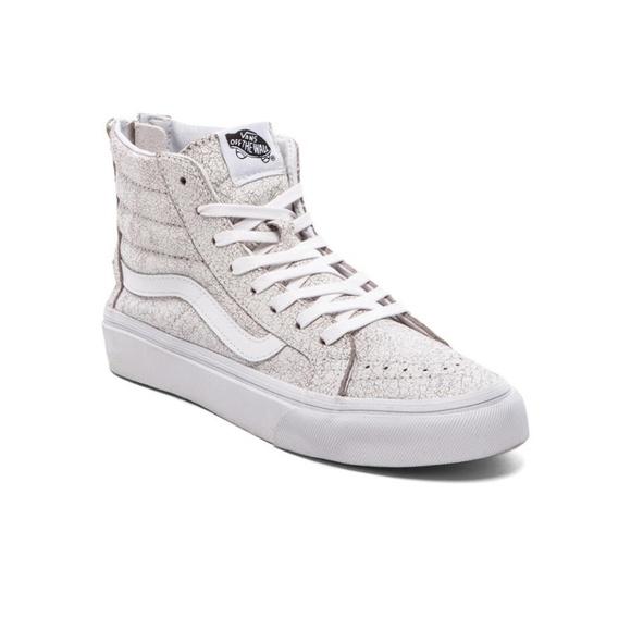 26553e4eb9 Vans Sk8 Hi White Cracked Leather